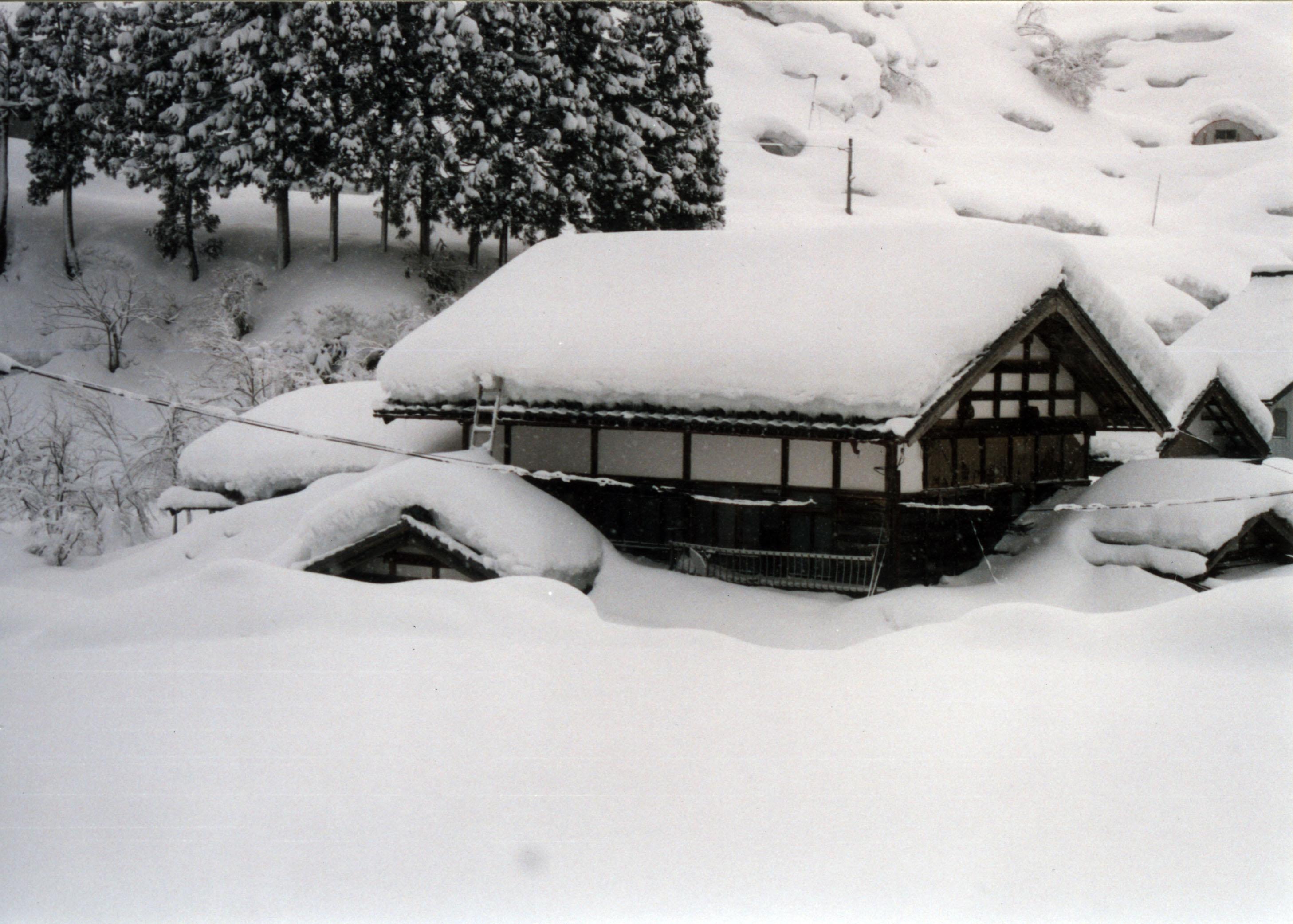 積雪は多いときは5mの高さにまで積もる。屋根の雪下ろしも地域の人々と協力しあって行う。