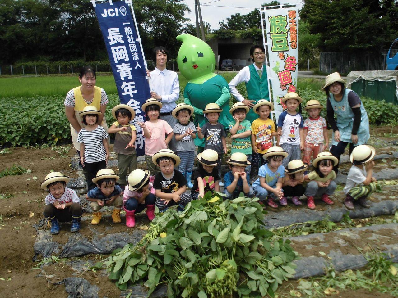 幼稚園や保育園の園児と一緒にえだまめの収穫も行った。
