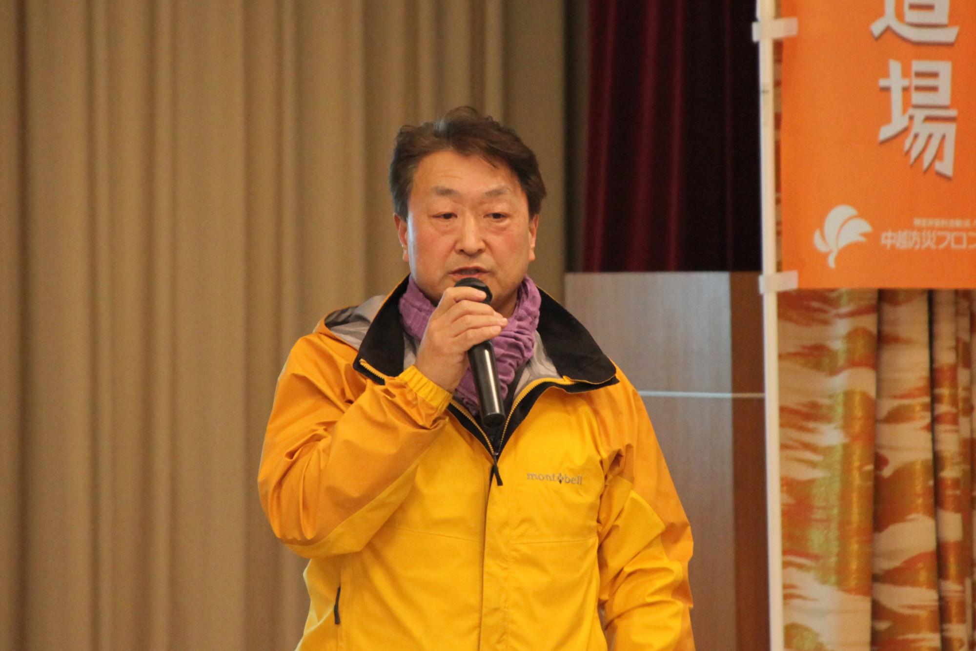 NPO法人中越防災フロンティア理事長 田中仁さんによる開会の挨拶からスタート。