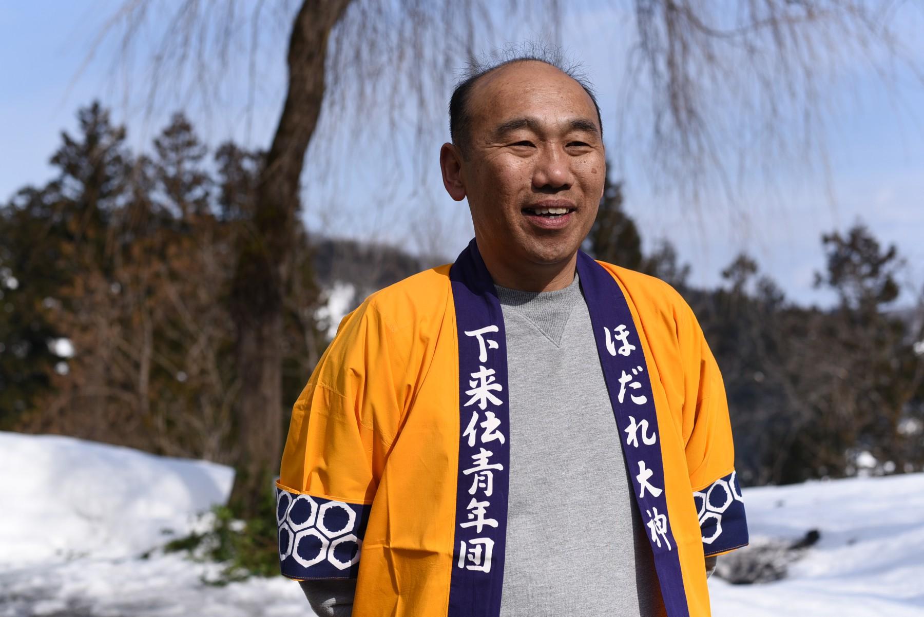 ほだれ祭実行委員長の佐藤隆志さん。今年、下来伝地区で唯一参加した初嫁さんのご主人でもあります。